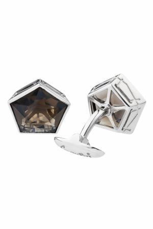 Серебряные запонки с дымчатым кварцем Gourji. Цвет: серебряный, коричневый