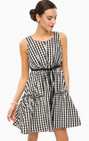 Короткое платье в клетку без рукавов POIS. Цвет: серый