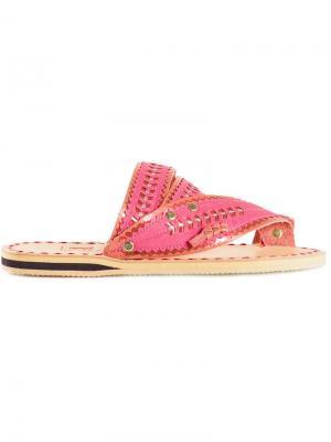 Сандалии с плетеными деталями Liwan. Цвет: розовый и фиолетовый