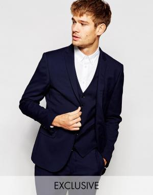 Number Eight Savile Row Пиджак зауженного кроя на свадьбу. Цвет: синий