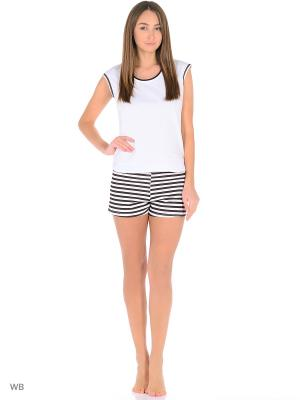 Домашний костюм ( футболка, шорты) HomeLike. Цвет: черный, белый