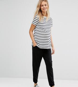 ASOS Maternity Трикотажные брюки-галифе с поясом на шнурке PETITE. Цвет: черный