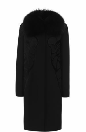Пальто прямого кроя с отделкой из меха лисы Elie Saab. Цвет: черный