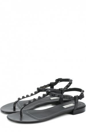 Кожаные сандалии с декором Balenciaga. Цвет: черный