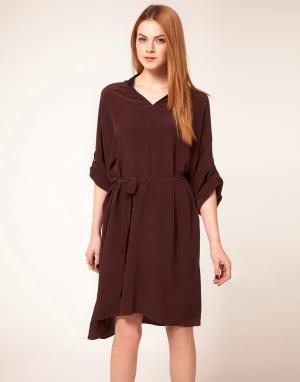 Unconditional Оверсайз-платье с воротником-стойкой. Цвет: темно-синий
