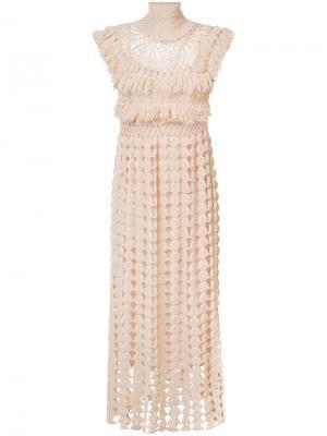 Вязаное крючком платье Ryan Roche. Цвет: телесный