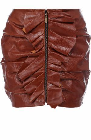 Кожаная мини-юбка с драпировкой и оборками Saint Laurent. Цвет: коричневый