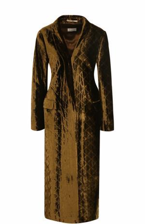 Бархатное стеганое пальто Dries Van Noten. Цвет: коричневый