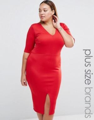 Praslin Платье-футляр с V‑образным вырезом и разрезом спереди Plus. Цвет: красный