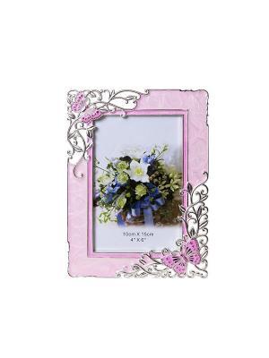 Фоторамка Бабочки и цветы, розовая, металлическая со стразами 10х15см PLATINUM quality. Цвет: розовый