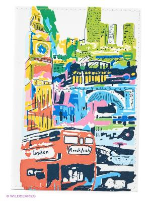 Обложка для автодокументов Лондон в красках Mitya Veselkov. Цвет: белый, оранжевый, синий