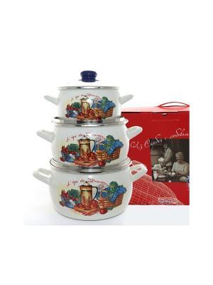 Набор посуды 6 предметов (2,2л, 4л, 5,3л), мет.крышки METROT. Цвет: бежевый