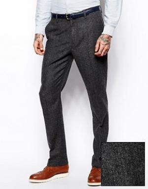 ASOS Узкие брюки из ткани в елочку. Цвет: серый