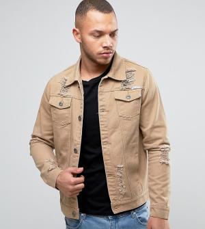 Liquor N Poker Светло-коричневая джинсовая куртка с рваной отделкой. Цвет: бежевый
