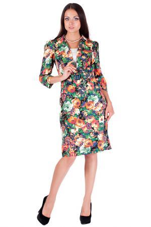 Платье Mannon. Цвет: оранжево-зеленый