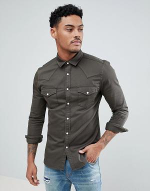 ASOS Зауженная джинсовая рубашка цвета хаки в стиле вестерн. Цвет: зеленый