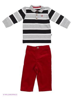 Комплект из 2-х предметов Поло: поло и джинсы. Little Me. Цвет: красный, серый