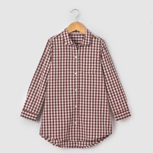 Рубашка с круглым вырезом в клетку виши, длинные рукава La Redoute Collections. Цвет: синий/в клетку