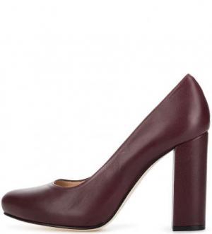 Кожаные туфли на каблуке и скрытой платформе UNISA. Цвет: бордовый