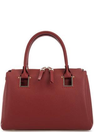 Красная кожаная сумка с короткими ручками Gironacci. Цвет: красный