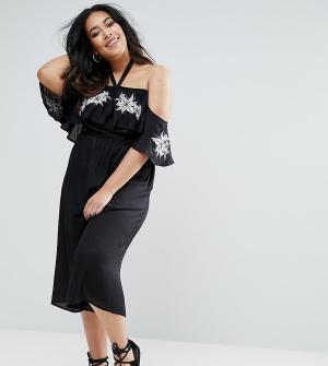 Diya Комбинезон с открытыми плечами и цветочным принтом. Цвет: черный