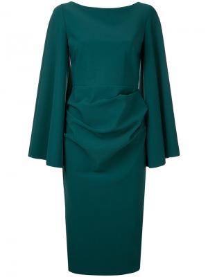 Платье с расклешенными рукавами Greta Constantine. Цвет: зелёный
