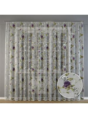 Тюль, органза Фиолетовые розы, 300*275 см Ambesonne. Цвет: белый, черный, зеленый