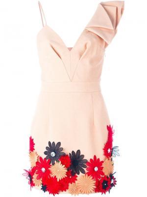 Платье с цветочной аппликацией Emanuel Ungaro. Цвет: телесный