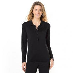 Пуловер-поло, 50% мериносовой шерсти ANNE WEYBURN. Цвет: индиго,малиновый,серый,черный,экрю