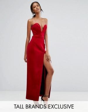 Taller Than Your Average Бархатное платье-бандо макси с вырезом сердечком и высоким разрезом TT. Цвет: красный