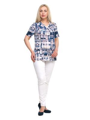 Блузка OLSI. Цвет: темно-синий, белый, розовый