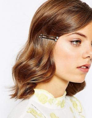 ASOS 6 заколок для волос со стразами. Цвет: прозрачный