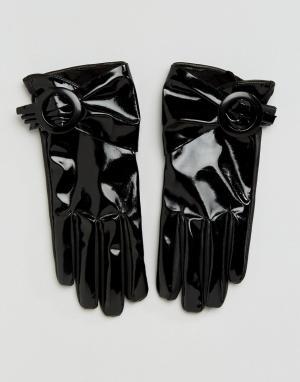 ASOS Лакированные перчатки с пряжкой для сенсорных экранов Black. Цвет: черный
