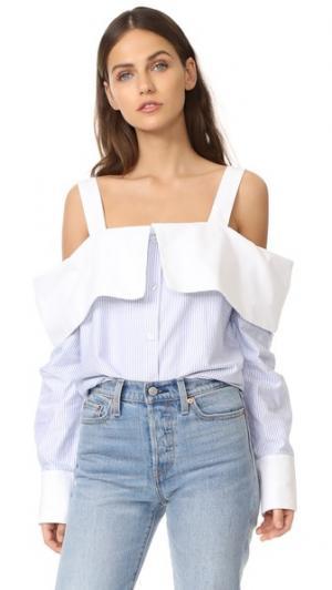Рубашка с открытыми плечами Clu. Цвет: светло-голубой