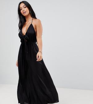 ASOS Petite Пляжное платье макси с завязкой. Цвет: черный