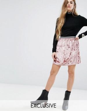 Rokoko Короткая приталенная юбка с полосатым поясом. Цвет: розовый