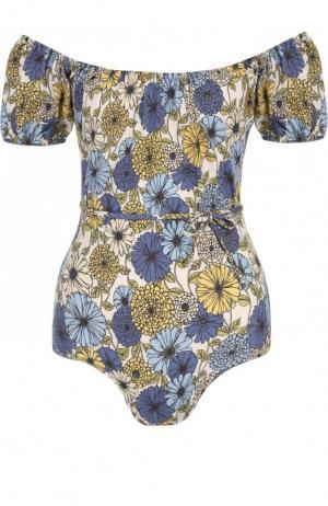 Слитный купальник с цветочным принтом Lisa Marie Fernandez. Цвет: разноцветный