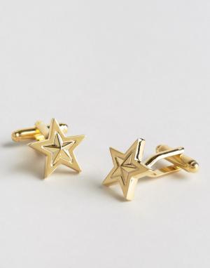 ASOS Новогодние запонки со звездами. Цвет: золотой