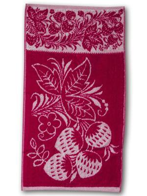 Полотенце махровое пестротканое жаккардовое 30x60см Узорная клубника, Кухня Авангард. Цвет: красный