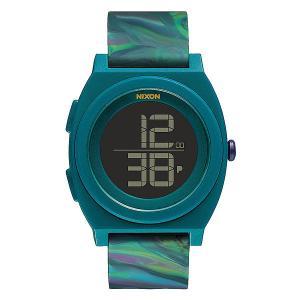 Часы  Time Teller Digi Marbled Multi Nixon. Цвет: зеленый,черный,голубой