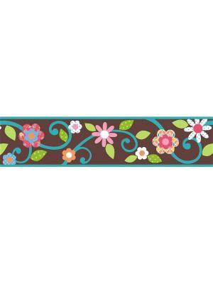 Наклейки для декора Цветы (коричневый/бирюзовый) - орнамент ROOMMATES. Цвет: белый, черный, синий, зеленый, серый, голубой, красный, оранжевый, желтый