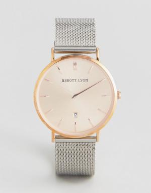 Abbott Lyon Розово-золотистые часы с серебристым сетчатым браслетом St. Цвет: серебряный