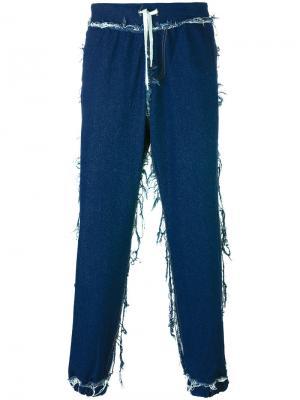 Прямые джинсы с присборенными щиколотками Andrea Crews. Цвет: синий