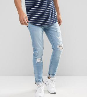 Brooklyn Supply Co. Выбеленные джинсы скинни с рваной отделкой Co. Цвет: синий