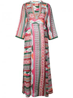 Платье-кафтан с геометрическим рисунком Le Sirenuse. Цвет: розовый и фиолетовый