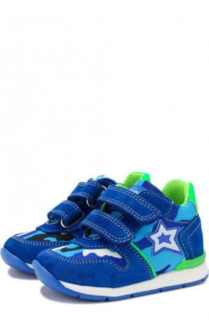 Замшевые кроссовки с текстильной отделкой и застежками велькро Falcotto. Цвет: разноцветный