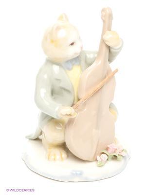 Фигурка Кот с виолончелью Pavone. Цвет: бежевый, желтый, зеленый