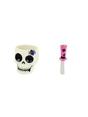 Набор: Глубокая чаша и нож Witch Doctor Skull BOSTON. Цвет: белый