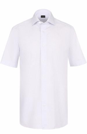 Хлопковая сорочка с короткими рукавами Ermenegildo Zegna. Цвет: голубой
