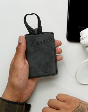 Dickies Кожаный кошелек для карт Larwell. Цвет: черный